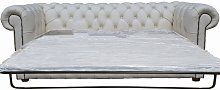 Chesterfield 3 Seater Settee Sofa Bed White Leather