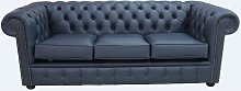 Chesterfield 3 Seater Settee Suffolk Blue Leather