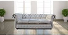 Chesterfield 3 Seater Settee Zoe Plain Parchment