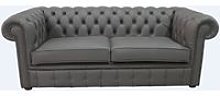 Chesterfield 3 Seater Silver Birch Leather Sofa