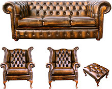 Chesterfield 3 Seater Sofa + 2 x Queen anne