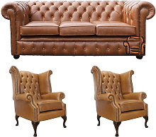 Chesterfield 3 Seater Sofa + 2 x Queen Anne Chairs