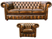 Chesterfield 3 Seater Sofa + Club Chair Leather