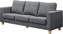Chesterfield 3 Seater Sofa Linen Fabric Dark Grey