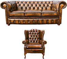 Chesterfield 3 Seater Sofa + Mallory Wing Chair