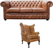 Chesterfield 3 Seater Sofa + Queen Anne Chair Old