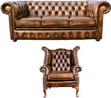 Chesterfield 3 Seater Sofa + Queen Anne Wing Chair