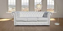 Chesterfield 3 Seater Sofa Settee White Leather