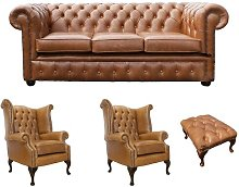 Chesterfield 4 Piece Leather Sofa Set Winchester