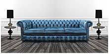Chesterfield 4 Seater Settee Antique Blue Leather