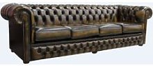 Chesterfield 4 Seater Settee Antique Gold Leather