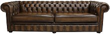 Chesterfield 4 Seater Settee Antique Tan Leather