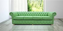 Chesterfield 4 Seater Settee Apple Green Leather