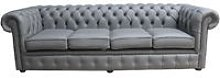 Chesterfield 4 Seater Settee Silver Grey Leather