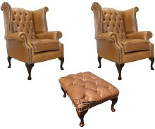 Chesterfield Armchair and Footstool Chesterfield 2
