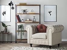 Chesterfield Armchair Beige Fabric Upholstery Dark