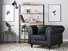 Chesterfield Armchair Black Faux Leather