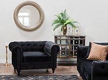 Chesterfield Armchair Black Velvet Fabric