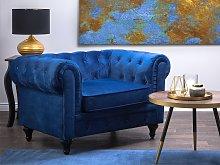 Chesterfield Armchair Blue Velvet Fabric