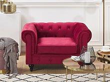 Chesterfield Armchair Dark Red Velvet Fabric