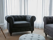 Chesterfield Armchair Graphite Grey Upholstery