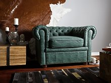 Chesterfield Armchair Green Faux Leather