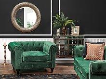 Chesterfield Armchair Green Velvet Fabric