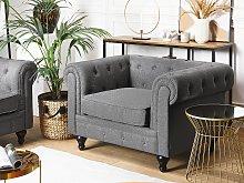 Chesterfield Armchair Grey Upholstery Dark Wood