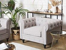 Chesterfield Armchair Light Grey Upholstery Dark