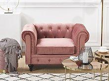 Chesterfield Armchair Pink Velvet Fabric