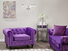 Chesterfield Armchair Purple Velvet Fabric