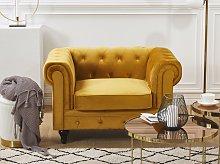 Chesterfield Armchair Yellow Velvet Fabric