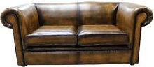 Chesterfield Buttonless 2 Seater Sofa Antique Gold