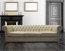 Chesterfield Crystal Diamond 4 Seater Leather Sofa