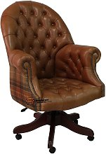 Chesterfield Directors Leather Office Chair Old