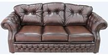 Chesterfield Era Brown Leather Traditional 3