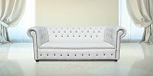 Chesterfield Fixed Seat Leather Sofa Offer White