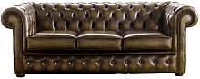 Chesterfield Handmade 3 Seater Sofa Antique Gold