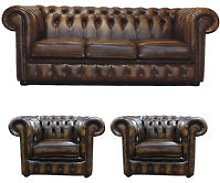 Chesterfield Leather 3 Seater + Club Chair + Club