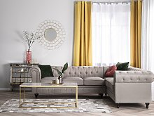 Chesterfield Left Hand Fabric Corner Sofa Beige