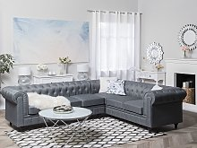 Chesterfield Left Hand Fabric Corner Sofa Grey