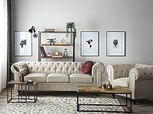 Chesterfield Living Room Set Beige Fabric Dark