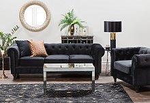 Chesterfield Living Room Set Black Velvet Fabric