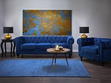Chesterfield Living Room Set Blue Velvet Fabric