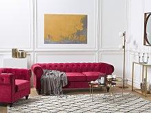 Chesterfield Living Room Set Dark Red Velvet