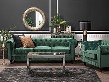 Chesterfield Living Room Set Green Velvet Fabric