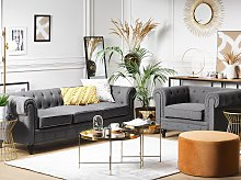 Chesterfield Living Room Set Grey Fabric