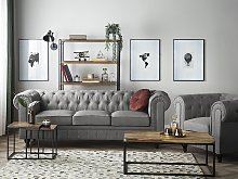 Chesterfield Living Room Set Light Grey Fabric