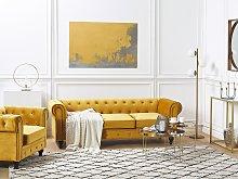 Chesterfield Living Room Set Mustard Yellow Velvet