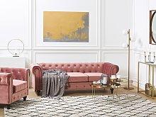 Chesterfield Living Room Set Pink Velvet